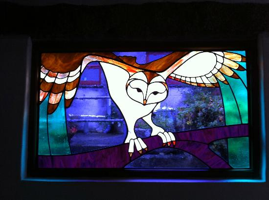 Roskilly's: Another stain glass window.