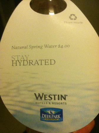The Westin Washington National Harbor: Bottled water in room - beware before you drink