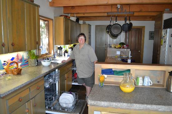 Yosemite Peregrine Lodging: Owner's kitchen and Mikey
