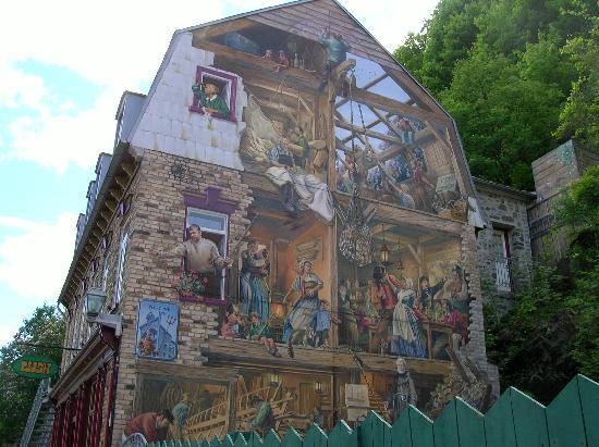 Place royale pintura tromp l 39 oeil painting detalhe for Mural quebec city