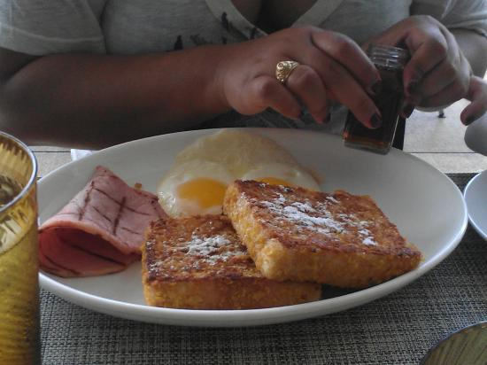 Oasis Pool Café: cereal crusted french toast w/ ham