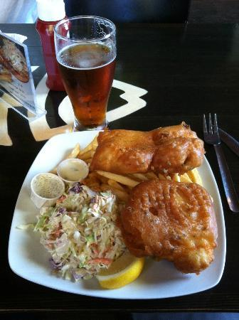Bare Bones Fish and Chips: 2 pcs. Beer Batter Halibut with fries & slaw