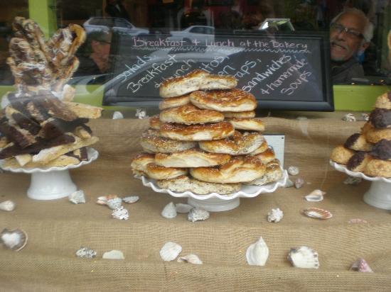 Carmel Bakery: Pretzels in the window