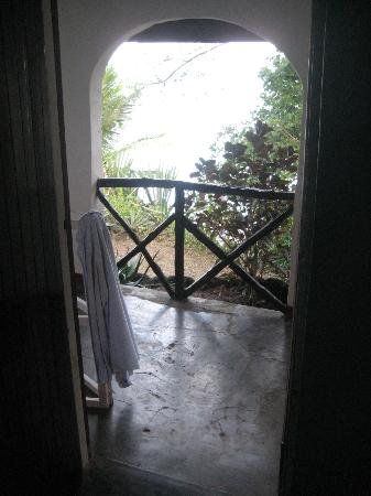 Diani Beachalets: Balcony overlooking the beach, at high tide, it's almost beneath your feet