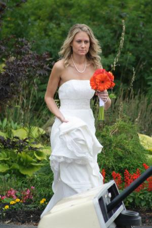 Hebron, ME: Beautiful bride in our garden path