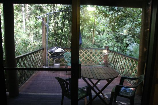 Crater Lakes Rainforest Cottages: the view from the sitting room onto the verandah