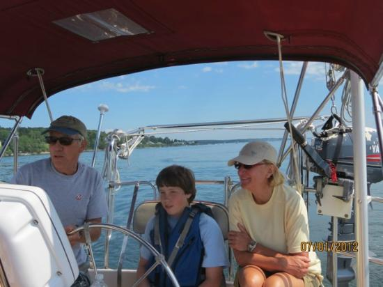 "Sail Casco - Tours: Ian instructing the ""crew"""
