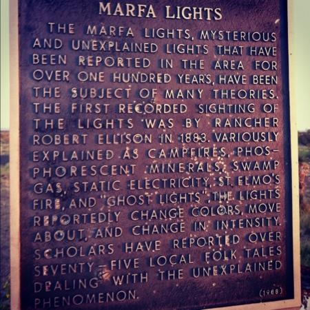 The Marfa Mystery Lights: plaque