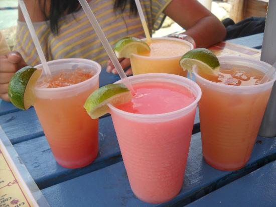Hammerheads Brew Pub and Grill : Side drinks are bahama mamas, back drink is a mango daiquiri and the front a strawberry daiquiri