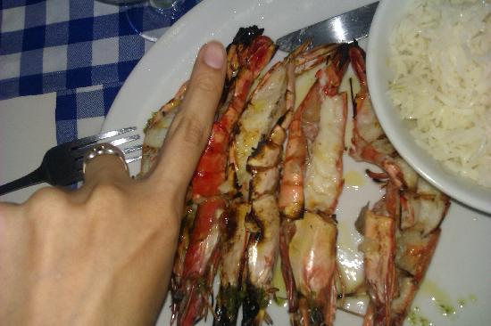 Clube Nautico: Medium size prawns and my finger