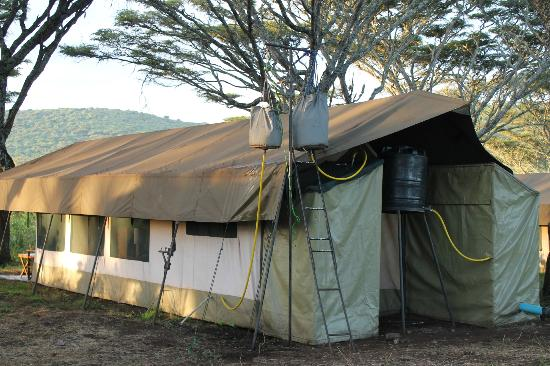 Lemala Ngorongoro Tented Camp: bucket shower at back of tent