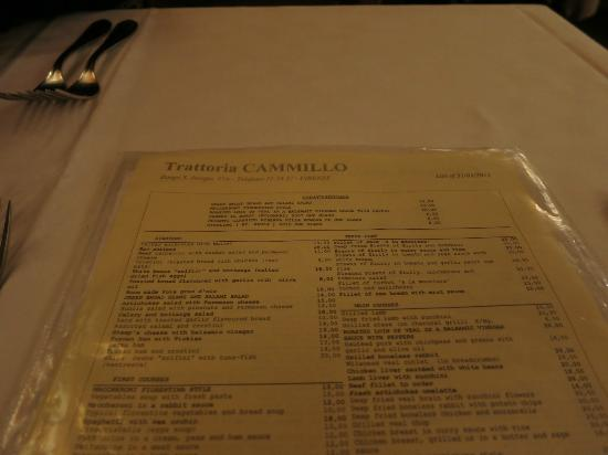 Cammillo Trattoria: The menu