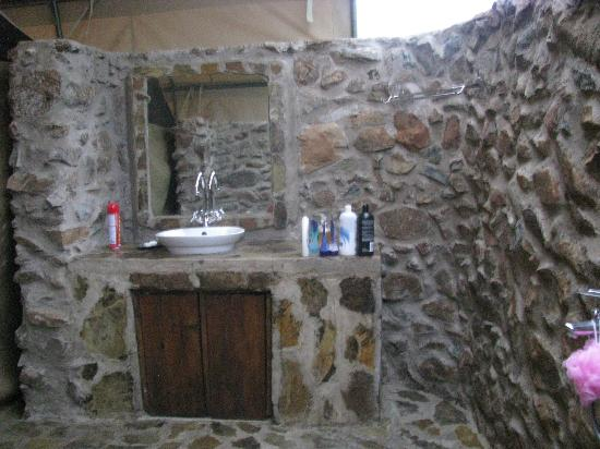 "Mapito Tented Camp Serengeti: ""starlight"" shower, with sink and toilet also outside"