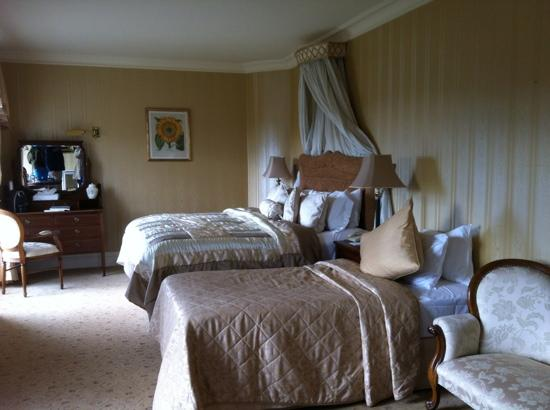 Dromoland Castle: beautiful super deluxe bedroom with gorgeous linens. the bathroom was so large and up to date.