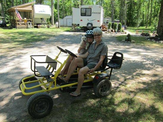 Medina/Wildwood Lake KOA: Peddle car rentals for the strong legged folks.