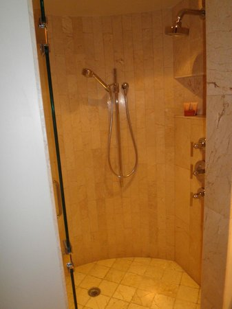 BIG, round, shower with two different shower heads and a bench ...