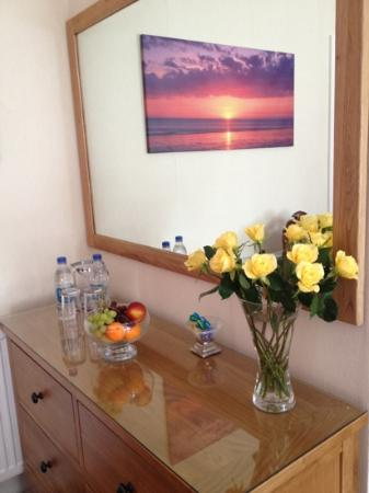 The Merivon Guest House: Fruit, fresh roses, water and chocolates were all presented upon arrival to our room.