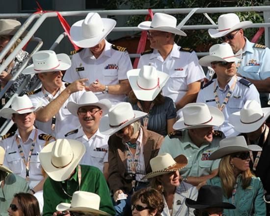 VIPs Viewing the Parade in the Traditional White Cowboy Hats of the Calgary  Stampede 4c300c36c1c