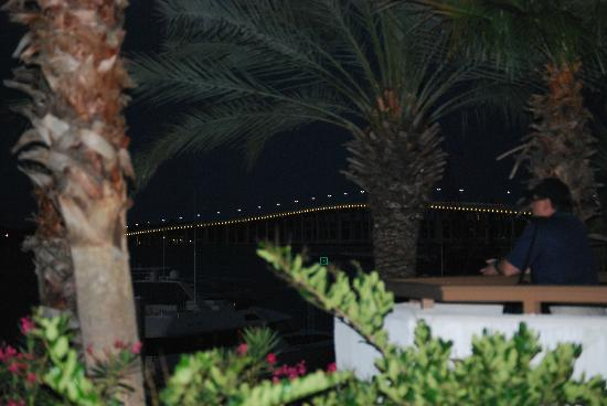 Palace Casino Resort: Outdoor view of the patio and bridge a night.