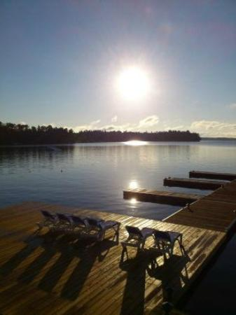Terraceview suite 302 - Early morning view of dock & Lake Rosseau (Clevelands House, June 22, 20