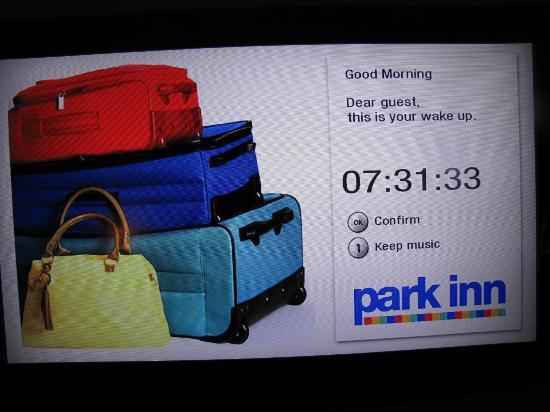 Park Inn Sandton: Bedroom Wake-up Call on TV Screen
