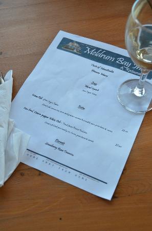 Meldrum Bay Inn Restaurant: The elegant menu for dinner