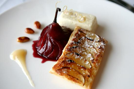 Pear tart and poached pear (43807373)