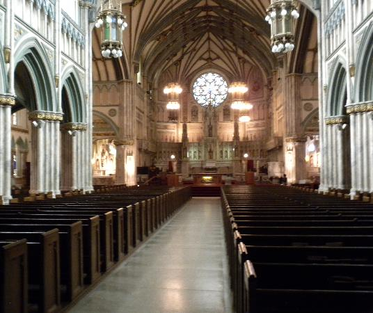 St. Dunstan's Basilica: a view of the front - the circular stained glass window spans 14'!