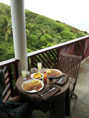 Calibishie Cove: You can't beat this view for dining and hanging out on the private terrace!