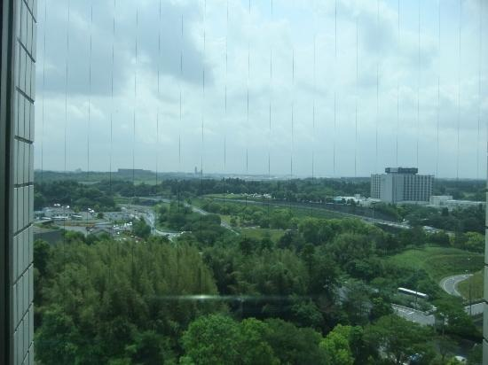 Hotel Mystays Premier Narita: view from hotel lift, nartia airport on the background