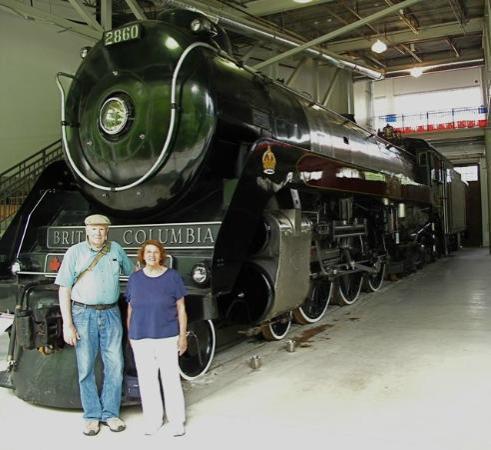West Coast Railway Heritage Park: Authors with Hudson Locomotive