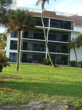 Pointe Santo de Sanibel: looking back at our building from the beach