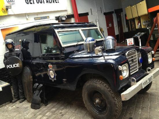 National Emergency Services Museum: a rare beast a armoured landrover from south yorkshire police