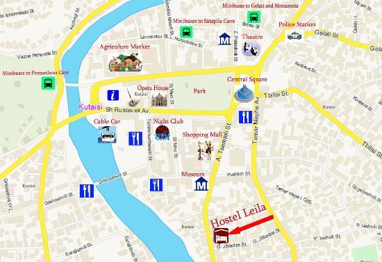 Location of Hostel Leila Kutaisi Picture of Kutaisi Hostel Center