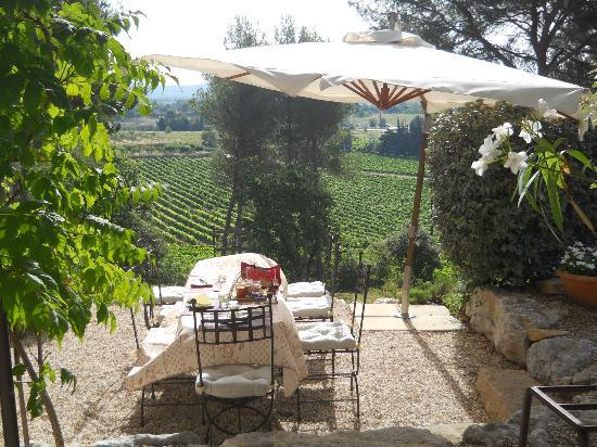 Le Temps des Secrets : Breakfast table overlooking the vineyard.