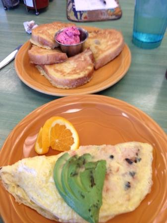 Snow City Cafe: French toast and crabmeat omelette.
