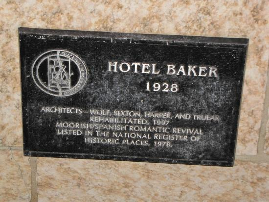 Hotel Baker: Historic plaque outside the hotel entrance