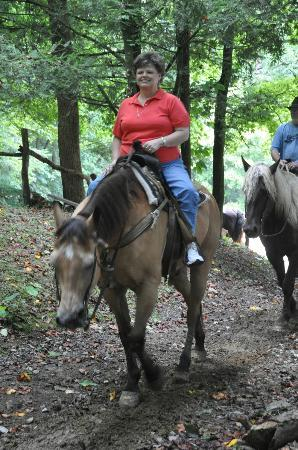 Smoky Mountain Riding Stables: Hardrock and Mom and Dad and Misty in the background