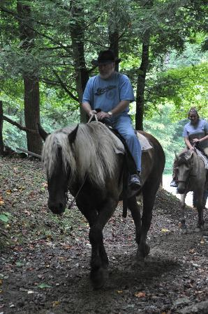 Smoky Mountain Riding Stables: Misty and Dad and in the background, Buckles.
