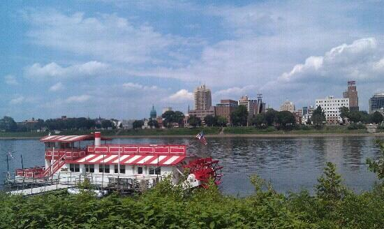 view of the Pride of the Susquehanna and the city of Harrisburg from City Island