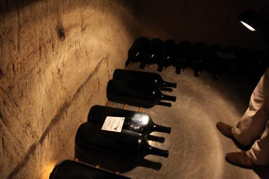 Chateau de la Riviere: underground wine cellar huge bottles
