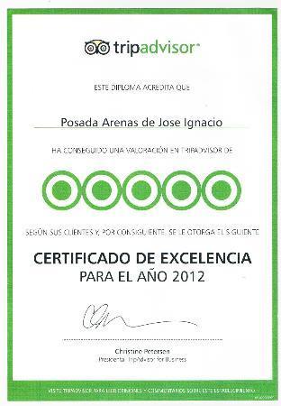 Posada Arenas de Jose Ignacio : Excellence certificate