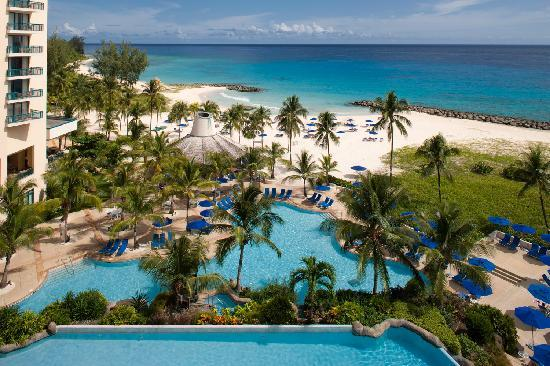 Saint Michael Parish, Barbados: Aerial view of hotel and pool/beach