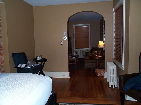 The Sayre Mansion Inn: view from bed into LR (Suite #3)