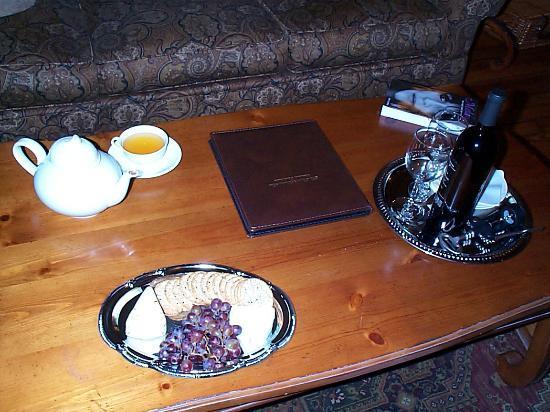 The Sayre Mansion Inn: cheese & wine (tea set is mine)