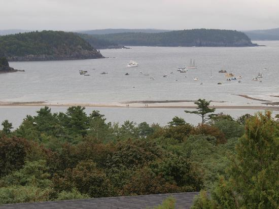The Looking Glass Restaurant : A view of the sandbars of Bar Harbor, ME viewed from The Looking Glass