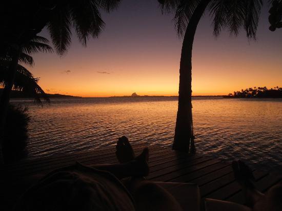 Vahine Private Island Resort: Sunset over Bora Bora from Beach Bungalow #3 (Deluxe)