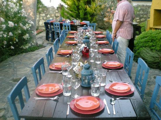 Guesthouse Bakkhos: Set for a grilled fish feast for all the guests.