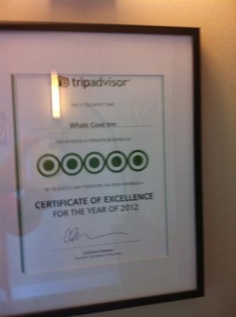Whale Cove Inn: award!!