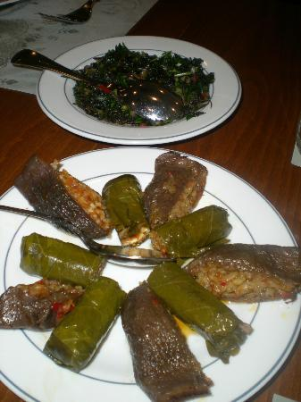 Turkish Flavours: Stuffed grape leaves & stuffed dried eggplant at Ciya.